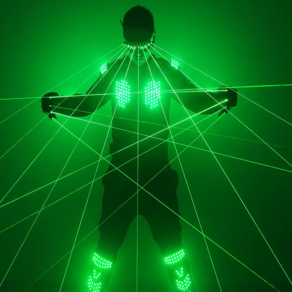 Nova chegou roupas laser verde, colete laser verde trajes led com luvas de laser e óculos para festa mostrar