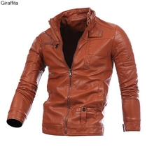 Mens Leather Jackets Fashion Slim Solid Coat Pu Clothes Male Winter Long Sleeves Stand Collar Motorcycle Leather Outcoat