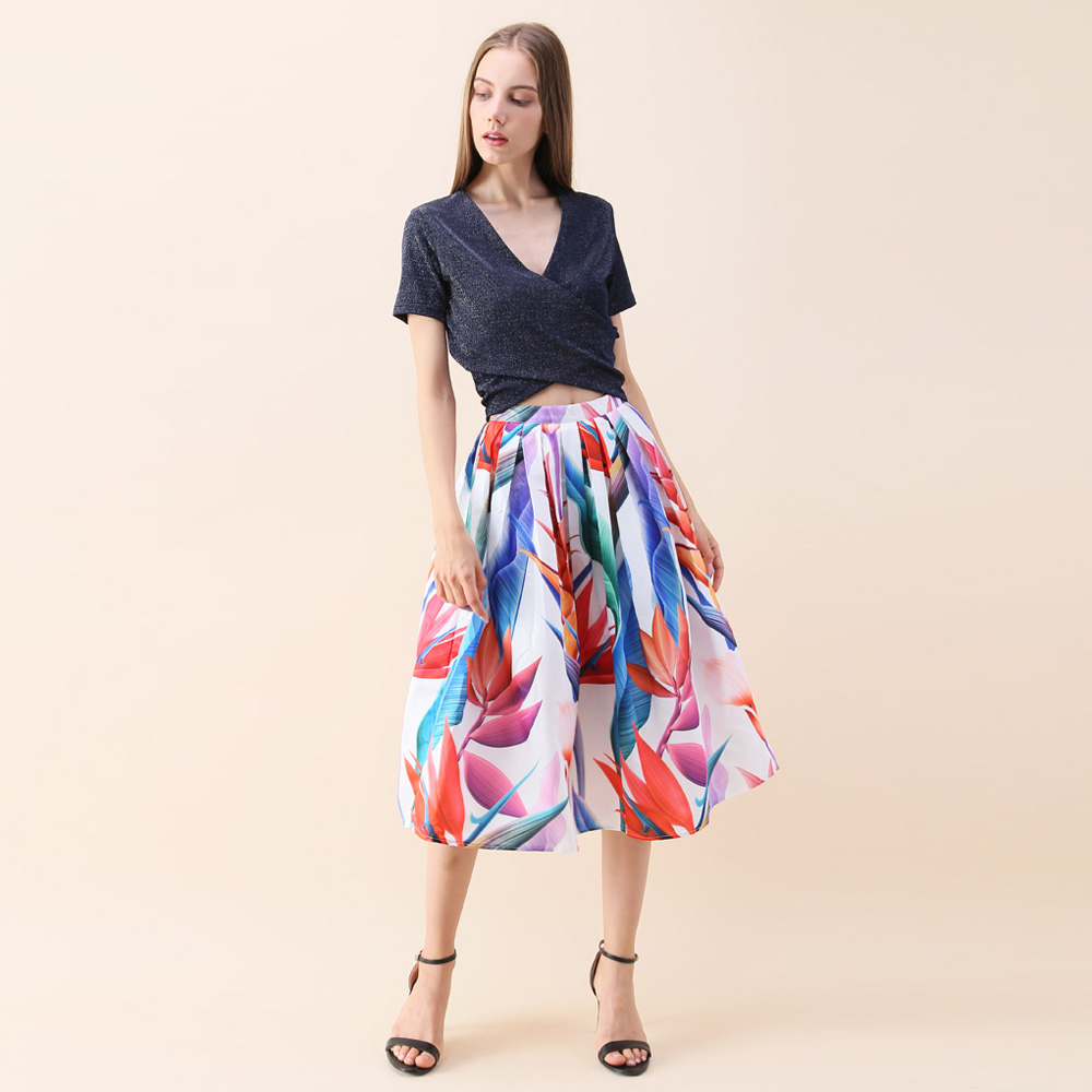 5408dbfc44 Chicwish Women's Red Blue Autumn Fashion Elegance Romantic Colorful Floral  Flower Pleated Sweet Party A Line Lady Midi Skirt