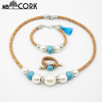 992124bb3819 Natural Cork Handmade Azure Tassel With White Pearl And Blue Stone Lady  Jewelry Set Original Wooden