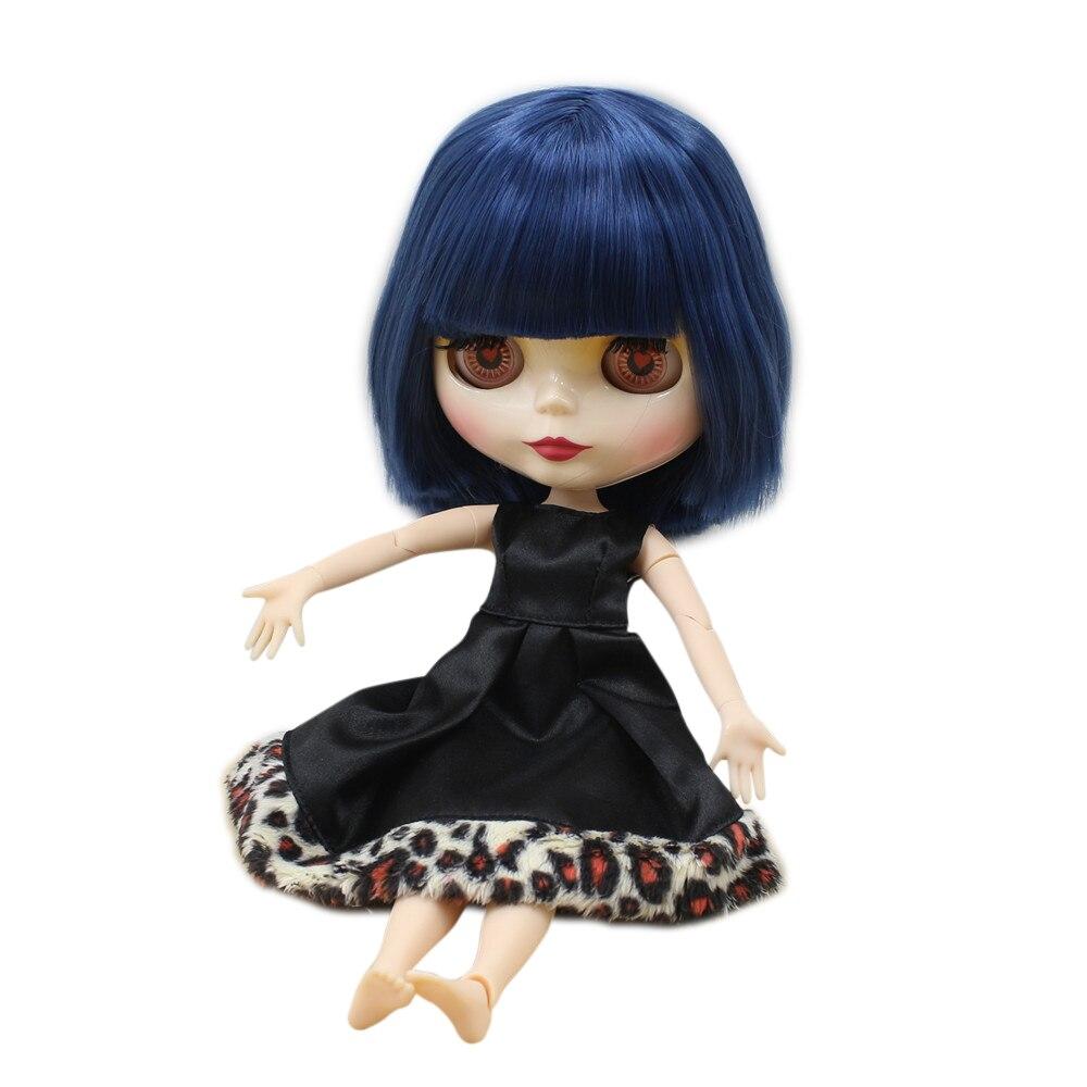 factory Blyth Doll bjd neo big breast Joint body short Blue Hair straight hair shiny face 1/6 30cm doll BL6221