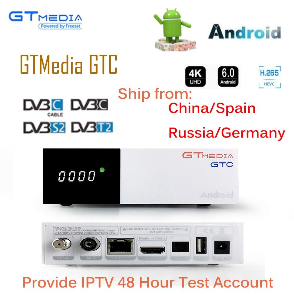 GTC Satellite Receiver DVB-S2 DVB-C DVB-T2 ISDB-T Amlogic S905D android 6.0 TV BOX 2GB RAM 16GB ROM BT4.0 + 6/12months IPTV стоимость