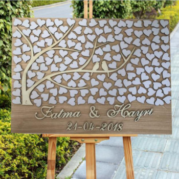 3D Wedding Guest Book Alternatives Sign Ideas Personalized Custom Rustic Loving Birds Wedding Wooden Guest Book White Hearts