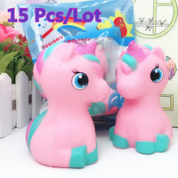15Pcs Lot Jumbo Kawaii Cute Unicorn Horse Squishy Animal Super Slow Rising Phone Strap Pendant Cream