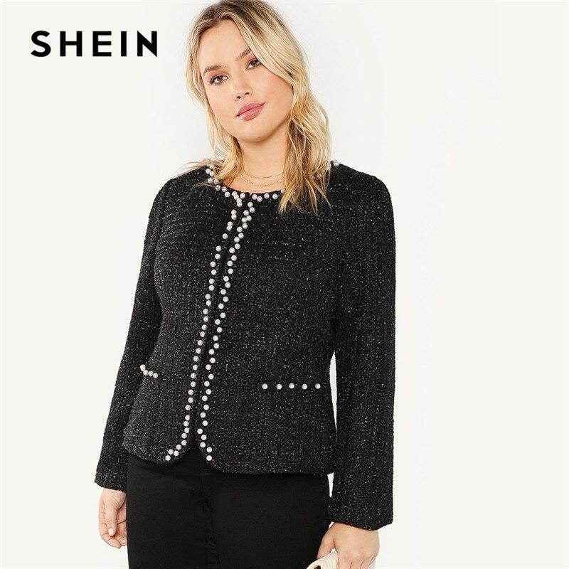SHEIN Preto Elegante Mulheres Pérola Frisado Plus Size Chic Brasão 2018 Moda Outono Senhora Do Escritório Da Frente Aberta Outerwear Beading