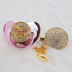 MIYOCAR Prata rosa bling Bling borboleta chupeta e clipe set cadeia chupeta chupeta titular projeto original APBF-11