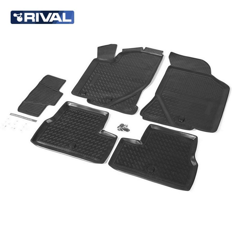 купить For Lada Kalina 2004-2018  floor mats into saloon 5 pcs/set Rival 16002001 дешево