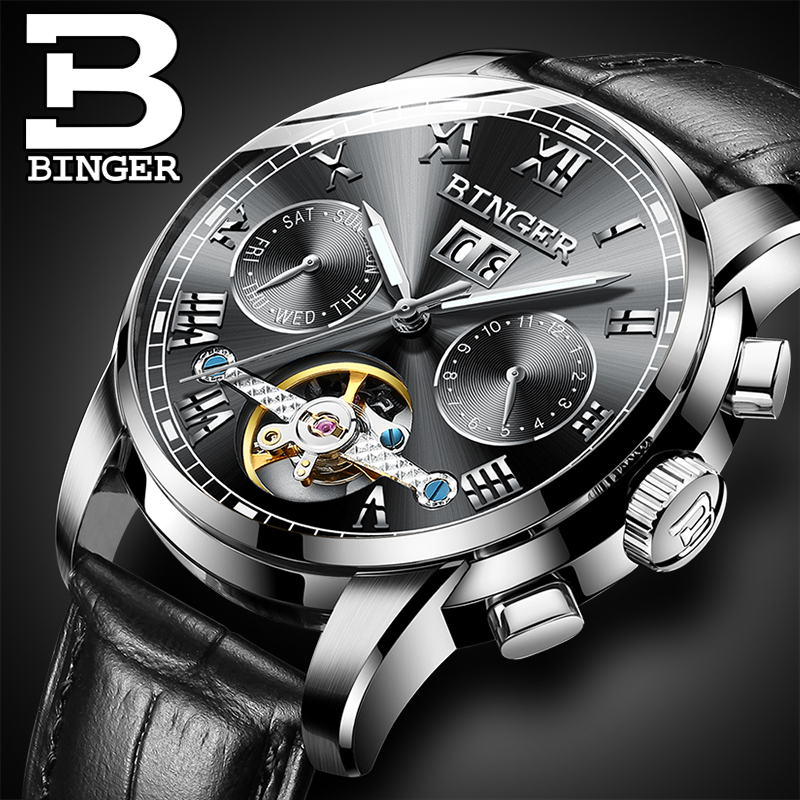 Mens watches Automatic mechanical watch tourbillon clock leather Casual business wristwatch relojes hombre top brand BINGER встраиваемый спот точечный светильник lucide mode 17877 01 12