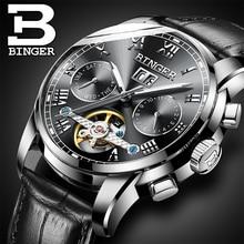 Mens montres Automatique montre mécanique tourbillon horloge en cuir montre-bracelet d'affaires Décontractée relojes hombre top marque BINGER
