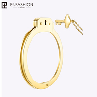 Enfashion Handcuffs Cuff Bracelet Manchette Gold color Stainless Steel Bangle Bracelet For Women Bracelets Bangles BD172003