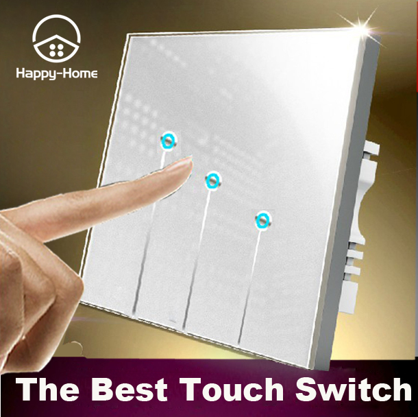 White 3 gangs 1 way Waterproof Glass LED wall touch light switches, Free Design Logo switch touch 220V Wallpad,Free Shipping new design 2 gangs 1 way crystal glass led black touch switches wallpad ac 110 250v wall light touch screen switch free shipping