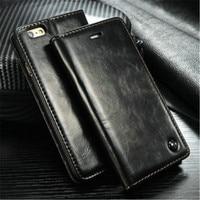 Unique Metal Logo Original Luxury Superior Leather Wallet Magnet Flip Case For IPhone 7 6S 6