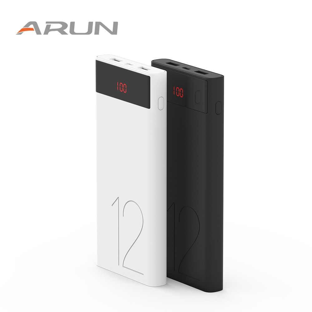 ARUN 12000 mAh внешний аккумулятор 2 USB светодиодный миниатюрное портативное зарядное устройство для мобильного телефона зарядное устройство для Xiaomi Mi iphone XS 8 plus