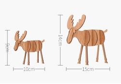 Christmas Elk Ornaments Assembled Wooden Reindeer Decoration Vintage Christmas Decoration for Home Natal Decor Supplies 2
