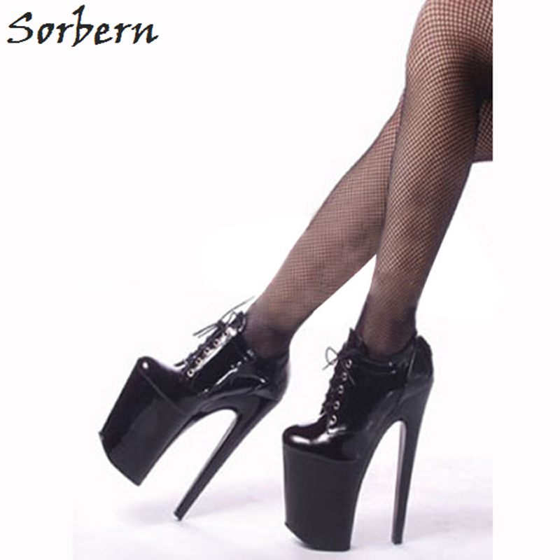 Sorbern 20Cm Super High Heel Lace Up Women Pumps Round Toe Thick Platform Shoes Ladies Fall Shoes Size 11 Pump Shoes Club Shoes bonjomarisa new arrivals 2016 solid plain round toe lace up sporting thick platform pumps women fashion cassual shoes women