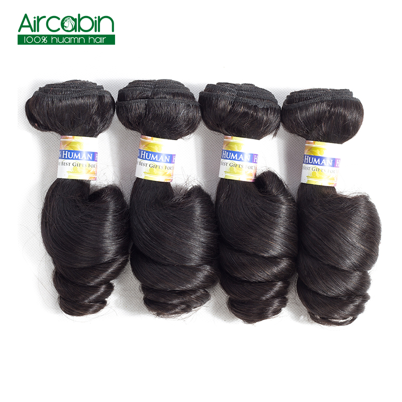 Brazilian Human Hair Weave Bundles Loose Wave 4 Bundles AirCabin Remy Hair Extensions Natural Black Can Be Dyed and Bleached