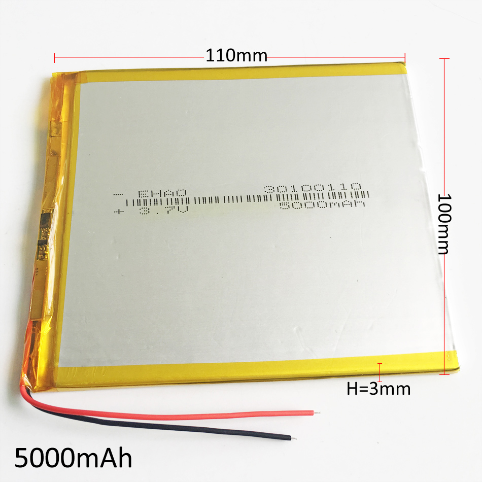 30100110 <font><b>3.7V</b></font> <font><b>5000mAh</b></font> <font><b>LiPo</b></font> Rechargeable <font><b>Battery</b></font> Polymer Lithium For GPS DVD PAD E-book tablet pc laptop power bank video game image