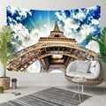 Anders Blauwe Hemel Witte Wolken Bruin Eiffeltoren Parijs 3D Print Decoratieve Hippi Bohemian Muur Opknoping Landschap Tapijt Muur Art