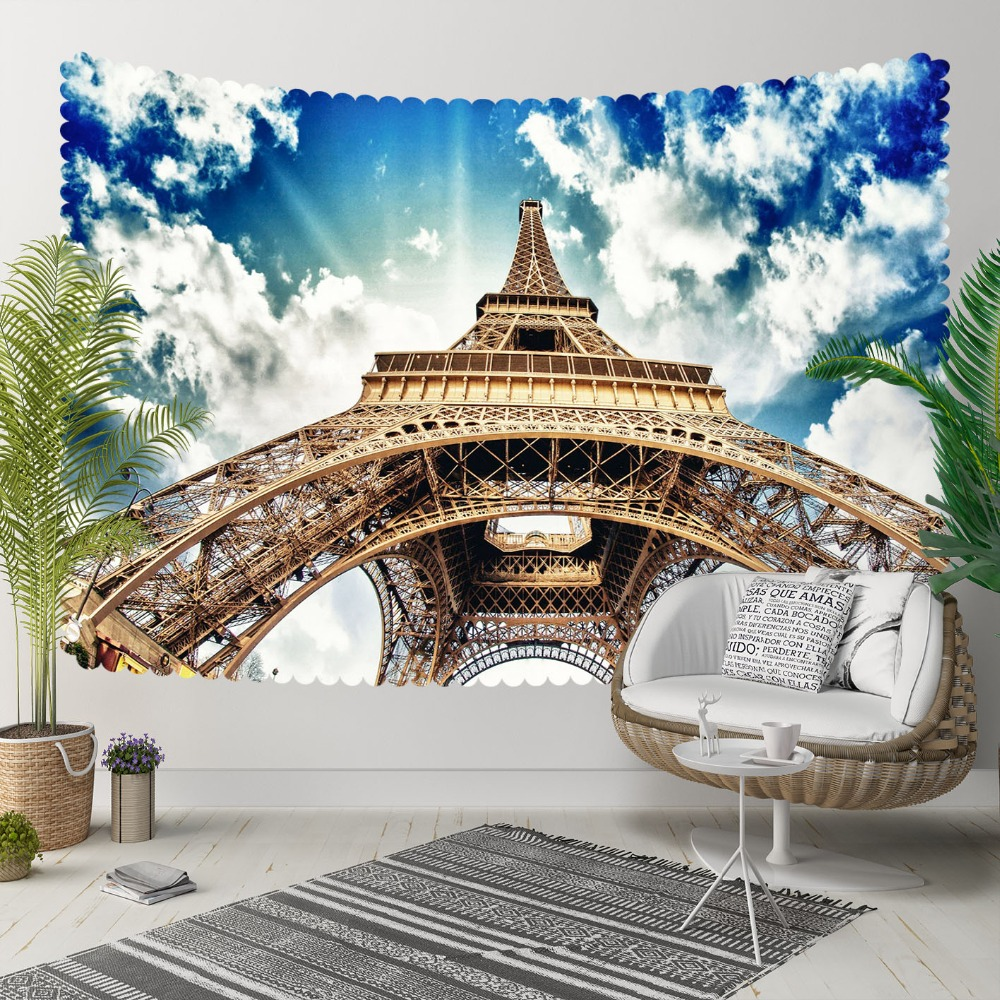 Else Blue Sky White Clouds Brown Eiffel Tower Paris 3D Print Decorative Hippi Bohemian Wall Hanging Landscape Tapestry Wall Art