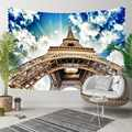 Else Blue Sky White Clouds Brown Eiffel Tower Paris 3D Print Decorative Hippi Bohemian Wall Hanging Landscape Tapestry Wall Art