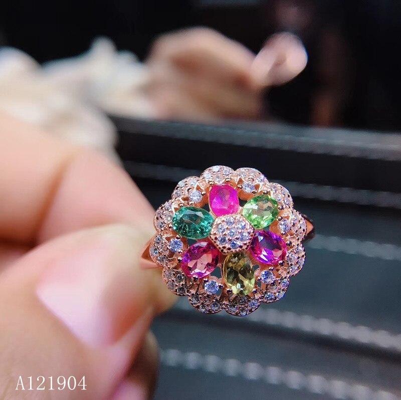 KJJEAXCMY boutique bijoux femmes modèles 925 en argent sterling incrusté de tourmaline naturelle anneau de soutien test