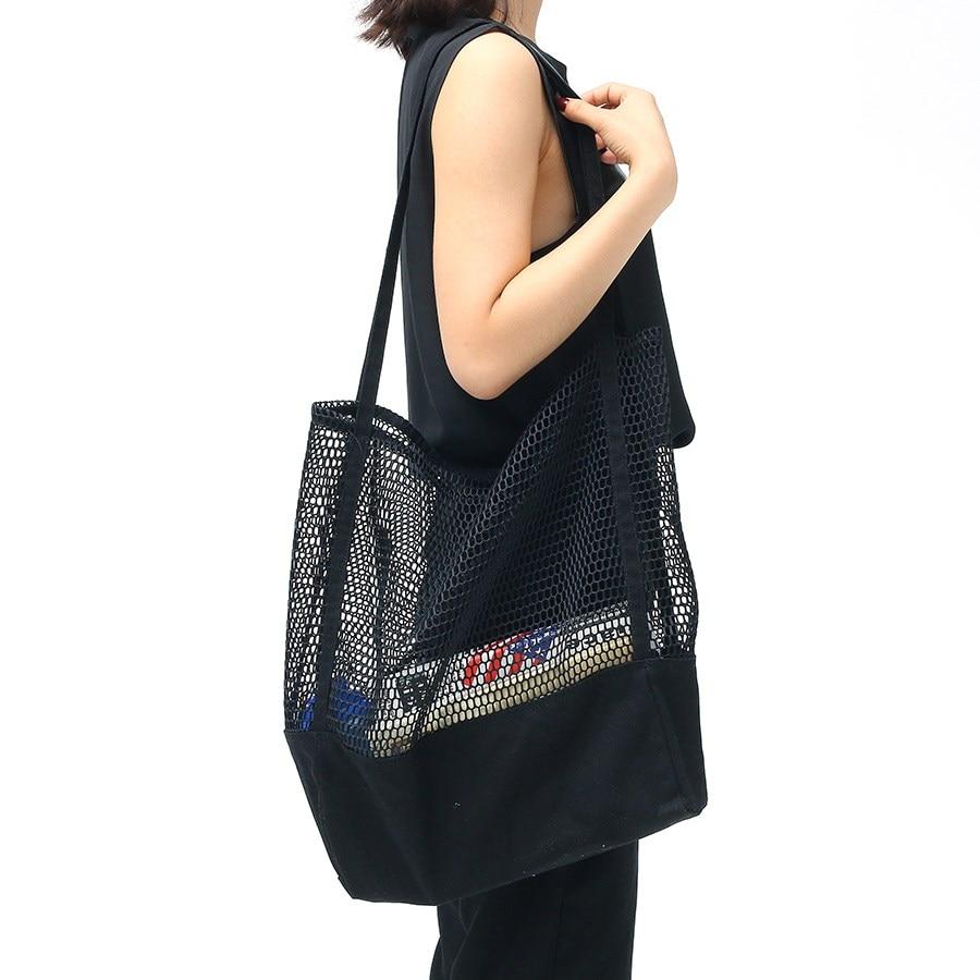 Black/White Large Fishnet Storage Bag Durable Canvas Fashion Net Woven Bags Travel Beach Tote Shoulder Bag Shopping