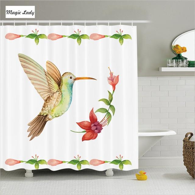 Shower Curtain Bird Bathroom Accessories Hummingbirds Fuchsia Flowers Stems  Watercolor Art Red Green 180*200