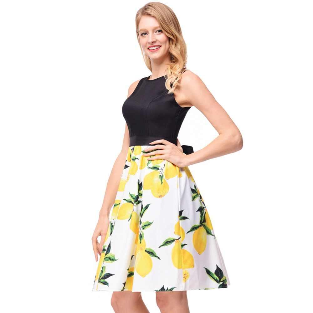 Модные женские летние лучшие продажи шнуровка большие качели печати винтажное платье Весна новое печатное фруктовое милое повседневное сексуальное платье