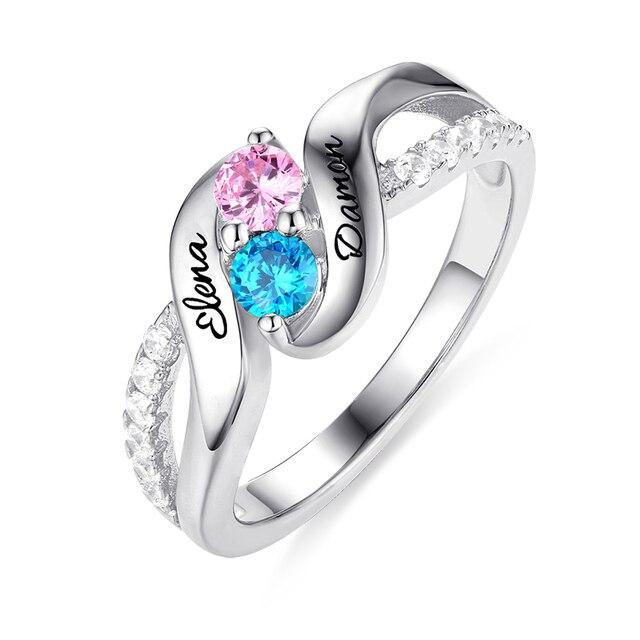 Anel da Promessa de AILIN Personalizado Para Suas Mulheres Duplo Birthstones  Anéis de Noivado de Prata Esterlina Nome Gravado Anel Para A Senhora b3b154130e