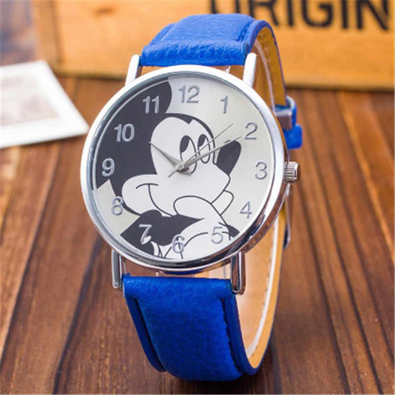 С симпатичным мультяшным оформлением, кожаный ремешок, кварцевые часы, Для детей мальчиков и девочек Повседневное Мода браслет наручные часы Relogio