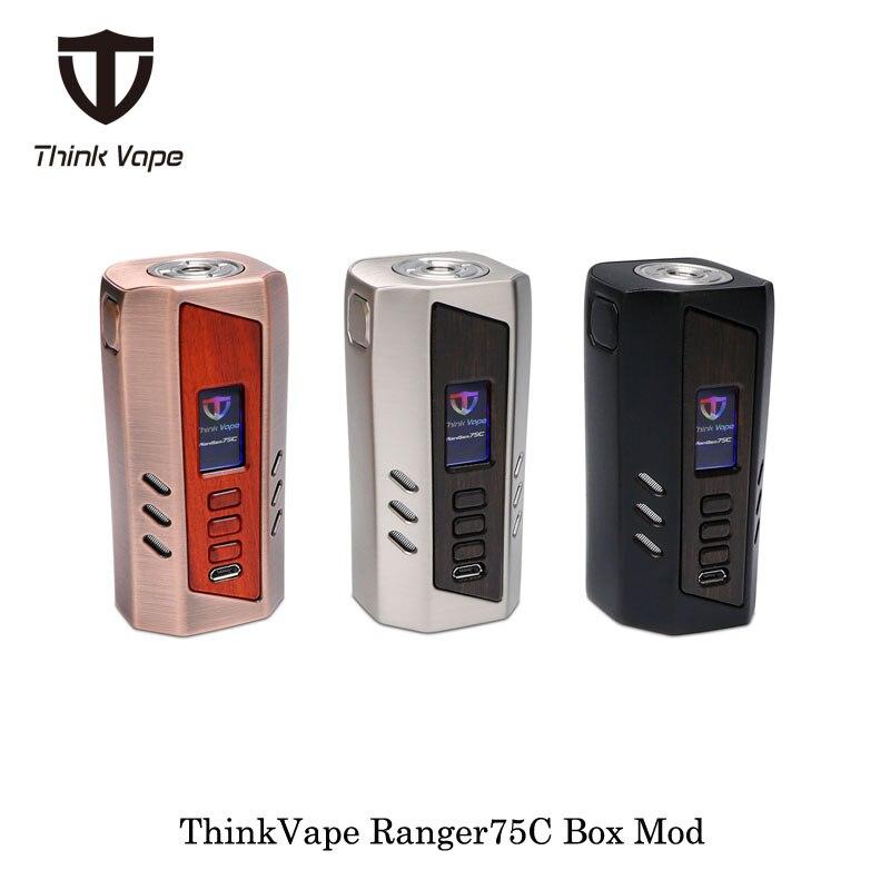 Cigarette électronique ThinkVape Ranger75C 75 w Boîte Mod Pense Vaporisateur Alimenté Par Double 18650 Batterie de Evolv ADN Puce Vaporisateur vaporisateur