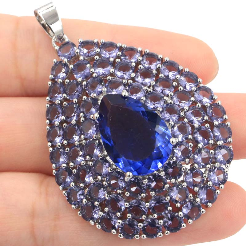 Big Pear Shape Heavy 14 7g New Stone Iolite Party Woman 39 s Silver Pendant 50x36mm in Pendants from Jewelry amp Accessories