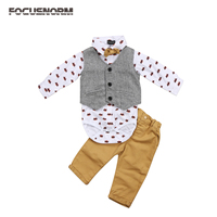 Toddler Baby Boys Formal Suit Waistcoat Pants Tuxedo Casual Outfits Set Fashion Bat Print Bow Tie