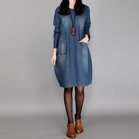 Blue Denim Dress 2017 Autumn Vintage Women Crew Neck Full Sleeve Pockets Loose Casual Party Elegant
