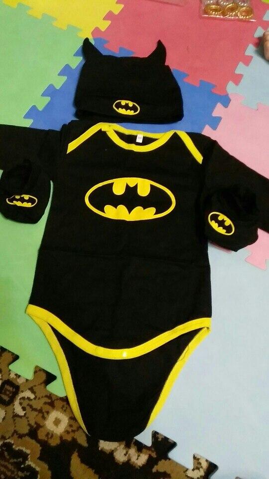 2017 Summer Cute Batman Newborn Baby Boys Infant Rompers+Shoes+Hat 3Pcs Outfit Baby Boys Clothes Set