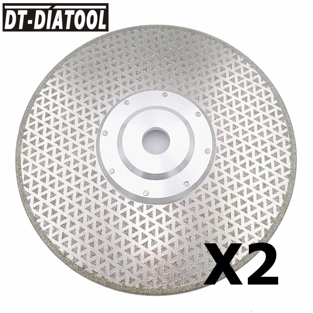 цена на DT-DIATOOL 2pks/pcs Dia 9/230mm Coated diamond cutting discs 22.23mm Flange Both Side electroplated saw blade grinding wheel