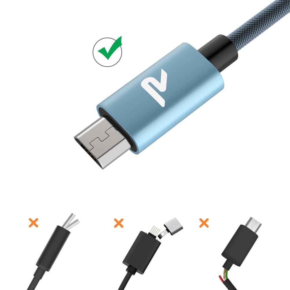 RAMPOW 1 mt 2 mt Fishnet Micro USB Kabel Anti-verwicklung Schnelle ...