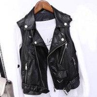pu leather waistcoat women motorcycle vest coat sleeveless vests plus size