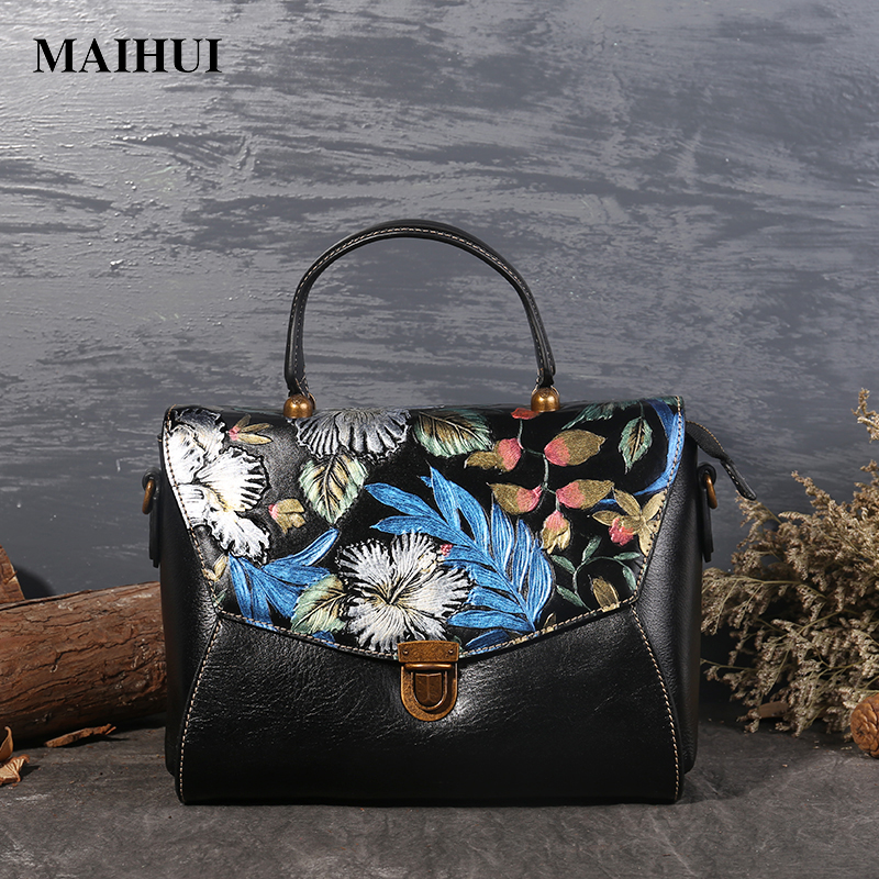 Maihui women leather handbags high quality shoulder bags Chinese style woman embossing bag cowhide real genuine leather flap bag