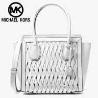 Michael kors Official MK Women shoulder Bag Luxury Women hand bag Handbags Mercer Studio Woven Leather Cross 30S8SY1M6T