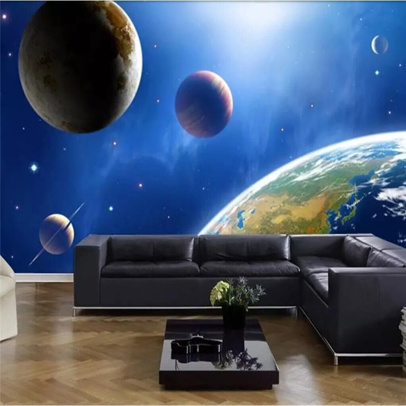 High-definition universe planet 3D star background wall painting specializing in the production of wallpaper murals custom home