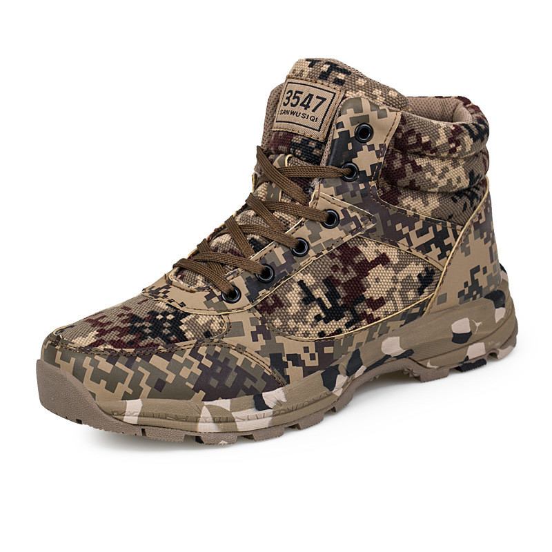 Fashion Winter Shoes Men Camouflage Army Boots Outdoor Military Boots Unisex Ankle Safety Shoes Man Canvas Boots Bota Masculina