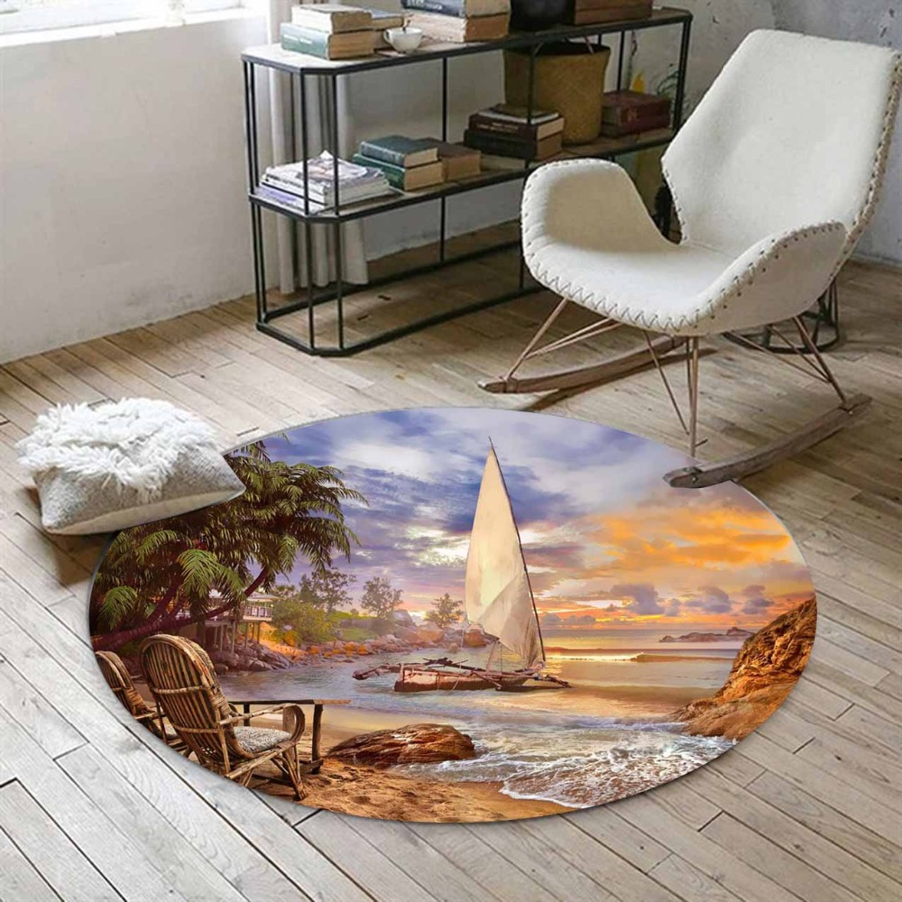 Else Tropical Brown Beach Sand Sea Side Ships Palm Tree 3d Print Anti Slip Back Round Carpets Area Rug For Living Rooms Bathroom