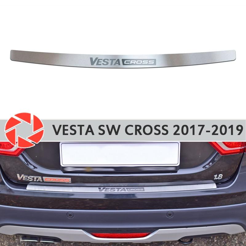 Couvercle de plaque pare-chocs arrière pour Lada Vesta SW Cross 2017-2019 plaque de protection voiture style décoration accessoires laser lettres