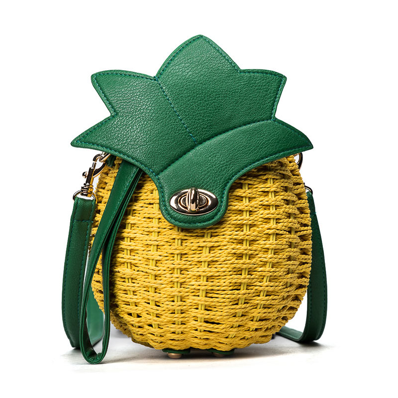 Women Pineapple Handbag Female Messenger Bags Straw Beach Crossbody Bag Lady Fashion Rattan Clutches Tote Knitted SS3010 (1)