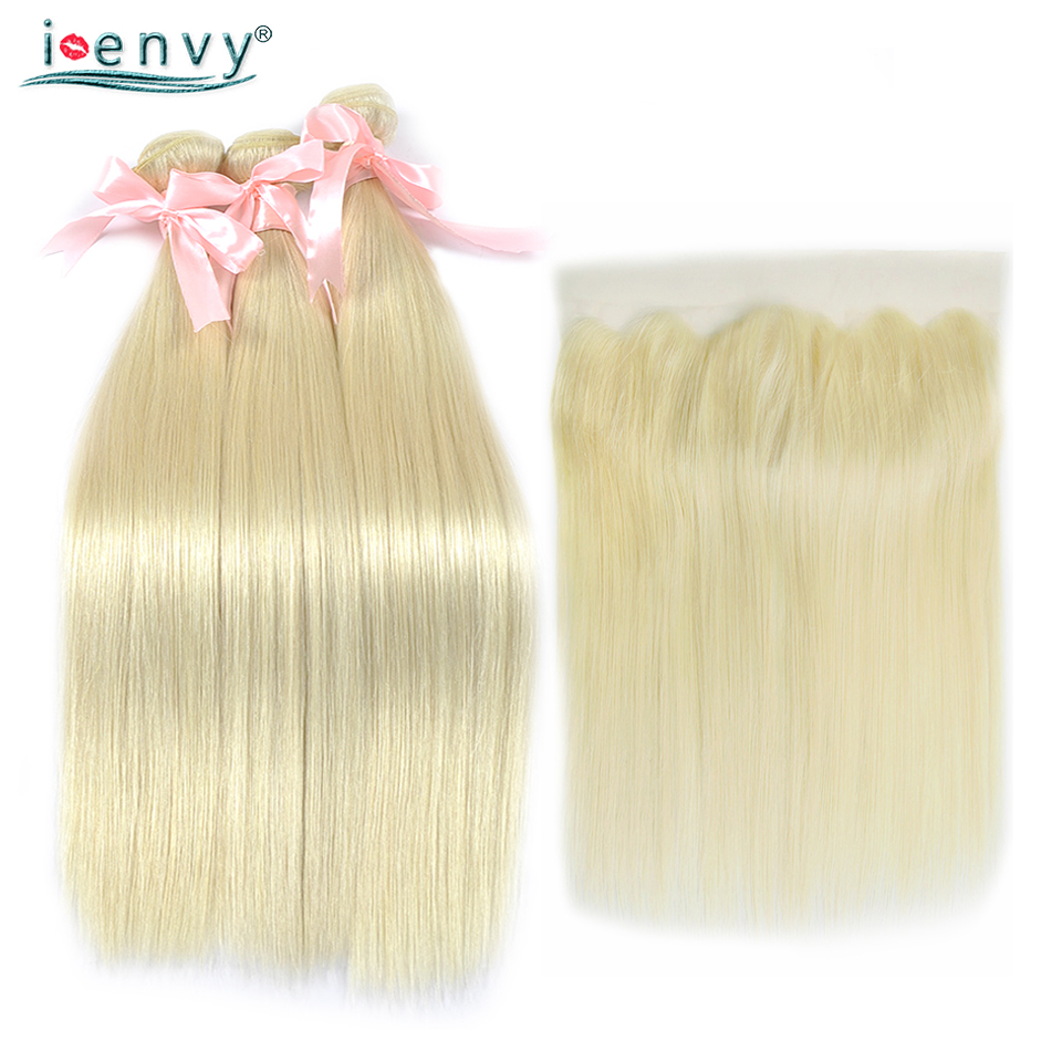 I-Envy 3 Honey Blonde Bundles With Frontal Closure Brazilian Human Hair 613 Bundles With Frontal Straight Hair Weave Nonremy