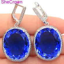 SheCrown Big Oval 22x18mm 17.5g Rich Blue Violet Tanzanite White CZ Ladies Present Silver Earrings 40x20mm