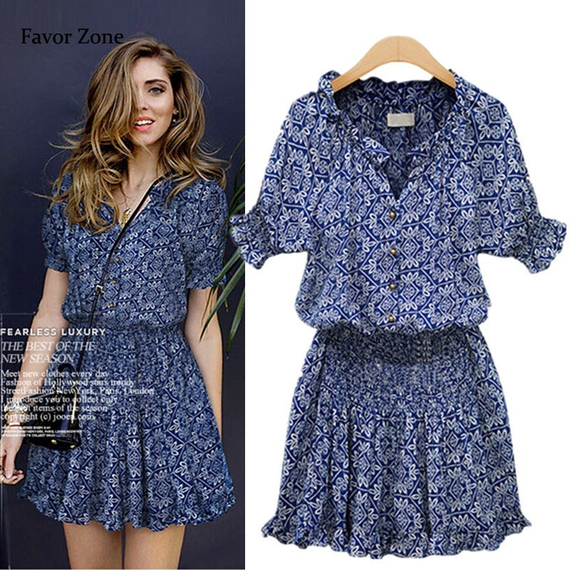 2019 Short Casual Women Summer Dress Boho Style Floral Print Chiffon Beach Dress Tunic Sundress Loose Mini Party Dress Vestidos