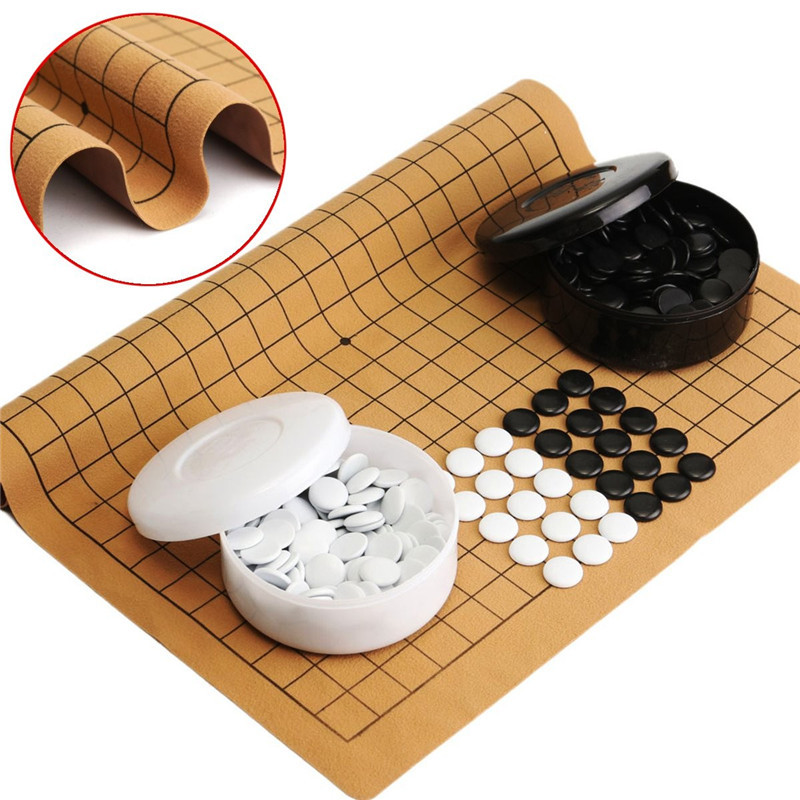 Entertainment Chess Games Party Games 361PCS Weiqi Professional Go Game Suede Leather Sheet Chinese Play Fun For Audults Kids go games absolutely addictive sudoku