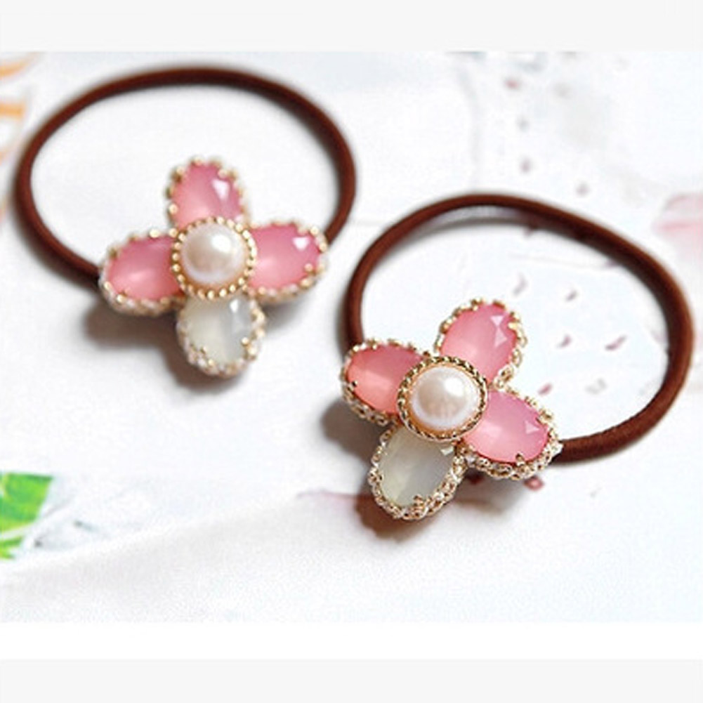 Four Leaf Clover Hair Accessories Pink Crystal Style Elastic Hair Bands for Women Durable Bands Rubber Bands Headwear